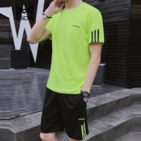 猫人(MiiOW)短袖套装2019夏季新款T恤套装男士短裤休闲运动套装1507-8808荧光绿XL