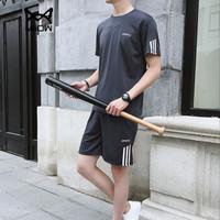 猫人(MiiOW)短袖套装2019夏季新款T恤套装男士短裤休闲运动套装1507-8808灰色2XL