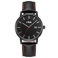 Fila 斐乐 FLM38-793 男款时装腕表 40mm 黑色 黑色 皮革