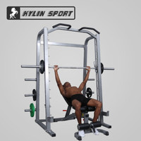 KYLIN SPORT 健身房框式深蹲架史密斯机综合训练器杠铃举重床卧推器材 PK007+SUB018+100kg黑色包胶杠铃片