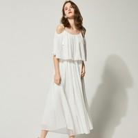 ONE MORE 白色吊带露肩连体裙裤