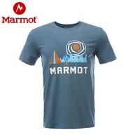 Marmot 土拨鼠  H53611 男士速干短袖图案T恤