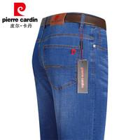 皮尔卡丹 牛仔裤男水洗修身弹力舒适时尚休闲直筒长裤子P1901中蓝31码(2.4尺)