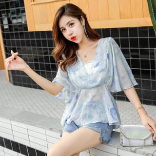 维迩旎 2019夏季新款女装新品时尚花色雪纺衫女显瘦女装收腰百搭洋气小衫 HZ2010-7025 蓝色 M