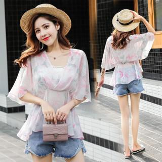 维迩旎 2019夏季新款女装新品时尚花色雪纺衫女显瘦女装收腰百搭洋气小衫 HZ2010-7025 粉色 XL