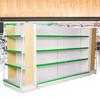 易存超市货架展示架层架便利店药店货架单面双面加厚母婴店展示架柜白2套单端头含侧板+双面L70(1主+1副)