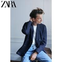 ZARA 02922422401 男士亚麻双排扣西装外套