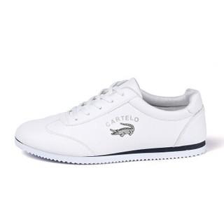 CARTELO 卡帝乐鳄鱼 KDLK17 男士系带小白鞋 白色 41