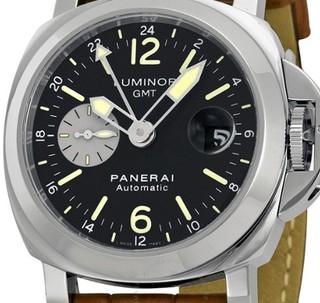 PANERAI 沛纳海 Luminor系列 GMT PAM00088 男款机械表  44mm 黑色 棕色 皮革