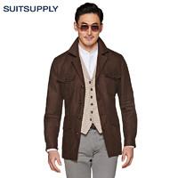 Suitsupply-Sahara棕色亚麻平纹修身男士夹克猎装