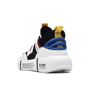花花公子(PLAYBOY)潮流拼色运动跑步网布休闲板鞋子男低帮舒适防滑 PL611053-1 白/黄 44