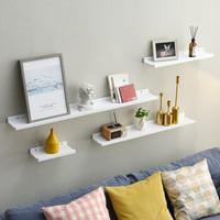 爱必居 实木隔板墙上置物架U型一字搁板四件套 白色10cm宽