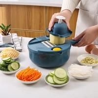 流颜 厨房切菜神器12件套 北欧蓝