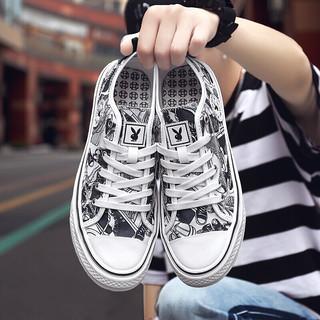 花花公子 (PLAYBOY)男鞋街头潮鞋透气涂鸦帆布鞋学生百搭板鞋 CX9599 白黑 44
