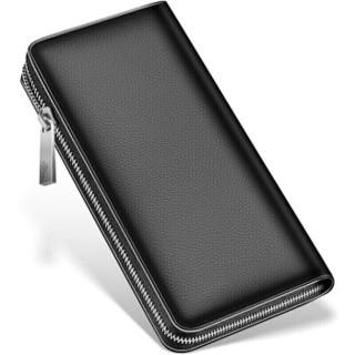 七匹狼男士手包 头层牛皮钱包多功能软皮商务男卡包手机包1A4964081-01 黑色