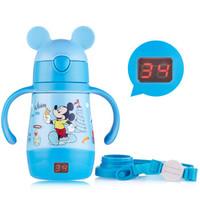 迪士尼(Disney)儿童保温杯密封防漏显温杯宝宝喝水杯子带手柄吸管杯防喷学饮杯290ml蓝色米奇