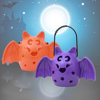 多美忆 万圣节装饰品  万圣节道具 鬼节南瓜灯装饰煤油灯马灯发声万圣节蝙蝠灯鬼叫 紫色蝙蝠灯