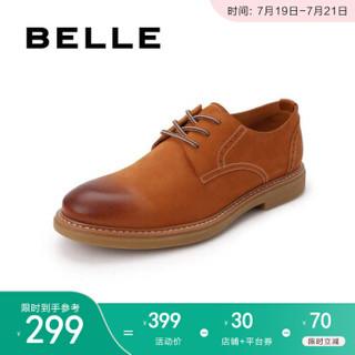 百丽工装鞋男夏季商场新款牛皮商务休闲系带低帮鞋B3HA7BM9 棕黄 41