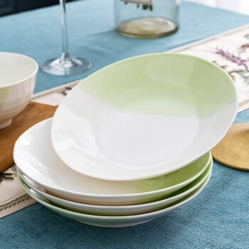 绒花瓷言 釉下彩新骨瓷和青双色碗盘套装 6个7英寸盘子