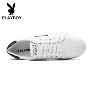花花公子(PLAYBOY)男士运动潮流小白休闲板鞋男轻质防滑 PL611091 白/黑 44