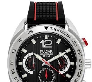 PULSAR PT3633 运动休闲男士手表 45mm 黑色 黑色 硅胶