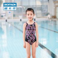迪卡侬女童女孩连体泳衣儿童舒适抗氯印花可爱温泉泳衣NAB E