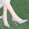 莱卡金顿  女士尖头酒杯跟浅口套脚时装休闲百搭单鞋 6695 银色 39