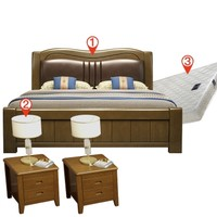 SKYTREE 天空树 新中式实木床组合(1.5m框架床+2柜+3E椰棕床垫)