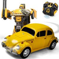 乐亲(LECHIN)新奇达擎天柱大黄蜂遥控汽车人一键变形声控感应机器人模型男孩玩具变形金刚系列 甲壳虫