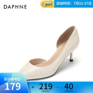 Daphne/达芙妮高跟鞋春新款羊皮革性感侧空奥赛单鞋女 米白 38