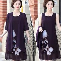 BANDALY 2019夏季新品女装连衣裙气质妈妈装中年女装中长款裙子印花两件套 JXQYBL004 紫色 4XL