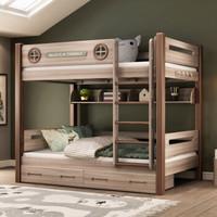 格杰 全实木 儿童床上下床双层床子母床两层高低床上下铺床成人双人床上下同宽 木蜡油 直梯床+书架+抽屉 1200*2000mm