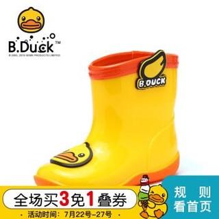 B.Duck小黄鸭童鞋男女童雨靴夏季新款儿童软底耐磨防水雨靴潮 黄色 22码内长约156mm *3件