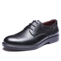 AOKANG 奥康 系带圆头平跟男士休闲鞋德比鞋正装皮鞋  173211075 黑色 38