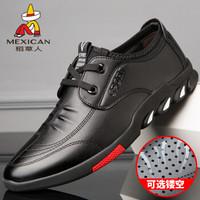 稻草人 MEXICAN 商务休闲皮鞋男士正装英伦百搭耐磨驾车轻质 DCR113 黑色 42