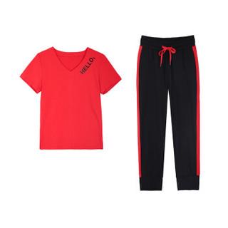 凡淑 T恤套装女2019夏装新款休闲运动V领短袖七分裤跑步服时尚宽松两件套 GZQBFS7136 7319红色 M
