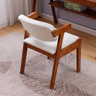 一米色彩 靠背软包实木椅子 胡桃色