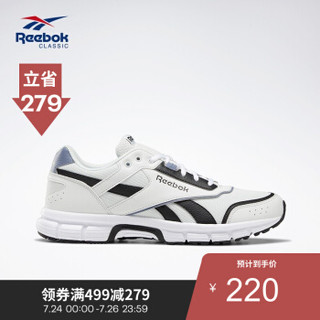 Reebok锐步男女复古运动休闲鞋RUN FINISH情侣款低帮跑步鞋DV8777 DV8777_白色/灰色/黑色