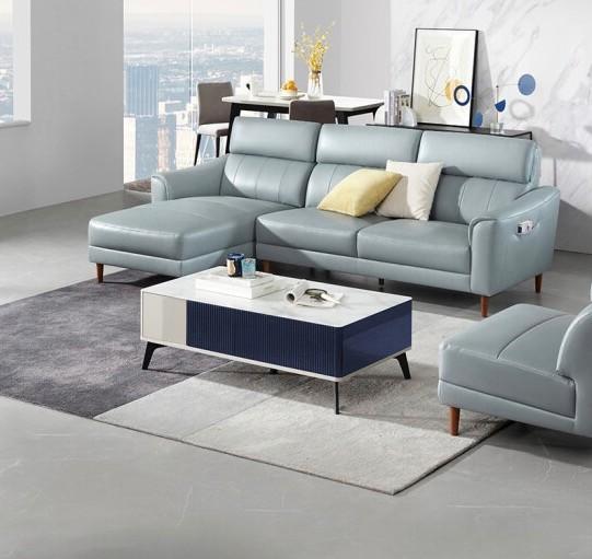 KUKa 顾家家居 1036B 意式真皮转角沙发 M5628 花青蓝 3右单+躺左单