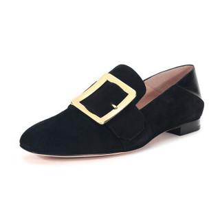 BALLY 巴利 女士黑色绒面皮革平底鞋便鞋 JANELLE 850 6228187 3/36码