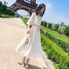 BANDALY 2020夏季女装连衣裙女白色雪纺刺绣仙女法国小众复古v领a字裙子女 zx3A41-714 白色 M