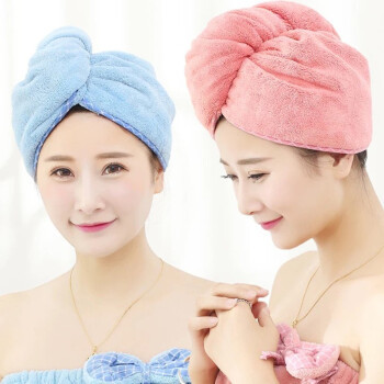 普智 干发帽超强吸水干发巾加厚擦头发速干毛巾包头毛巾浴帽(粉色) 二条装