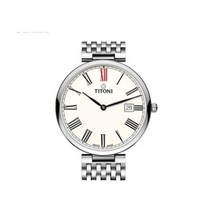 TITONI 梅花 纤薄系列 82718 S-608 男士自动机械手表 39mm 白盘 银色精钢表带 圆形