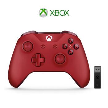 微软 Xbox无线控制器/手柄 红色+二代Win10无线适配器 | PC游戏手柄 蓝牙无线双模 适配Xbox/电脑/平板/手机