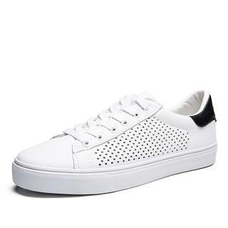 Semir 森马 WB797194 男士镂空透气小白鞋 白黑色 43