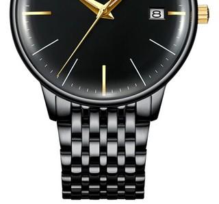 宾格(BINGER)手表男全自动机械表男士手表2.5D凸镜进口机芯 5078全黑钢带 40mm 黑色 黑色 PVD镀黑精钢
