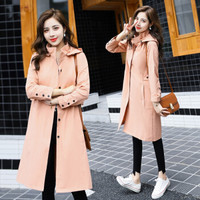 BANDALY 2019秋季新品女装风衣女中长款小个子外衣流行英伦风外套 GZZXFS9001 粉色 L