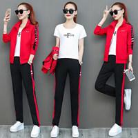 维迩旎 2019秋季新品女装短外套运动套装女三件套韩版修身显瘦休闲套装卫衣 KKWHWJLK616 红色 XL