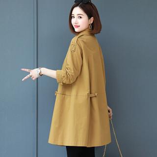 丽乔 风衣女2019秋季新款女装中长款韩版宽松时尚外套 yzLYSX93082 蓝色 2XL