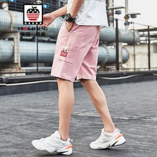 美国苹果/AEMAPE 休闲短裤男2019夏季新款工装五分裤棉质运动沙滩短裤子男 GK19011 粉色 3XL